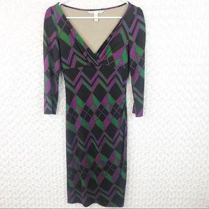New DVF Silk Geometric Print Faux Wrap Dress